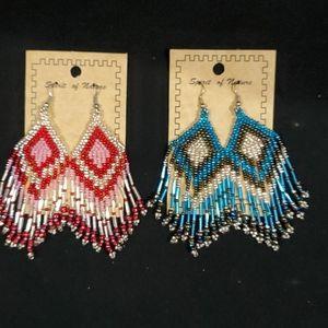 Handcrafted beaded pierce dangle earrings.